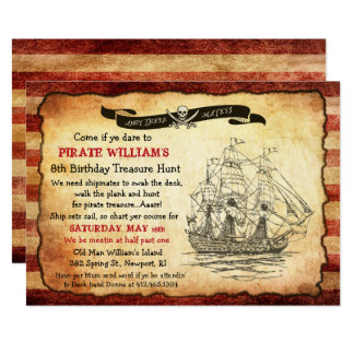 ANY AGE - Vintage Pirate Birthday Party Invitation