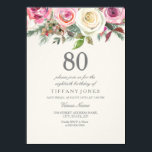 "Any Age White Rose Floral 80th Birthday Invite<br><div class=""desc"">Any Age White Rose Floral 80th Birthday Invite  beautiful elegant floral watercolor design  Fully Customizable / personalized</div>"