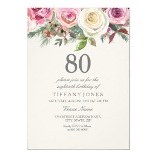 100th birthday invitations announcements zazzle any age white rose floral 80th birthday invite stopboris Image collections