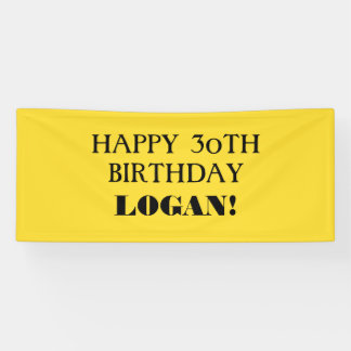 Any Age Yellow Black Custom Happy Birthday Banner