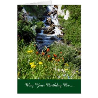 Any Birthday Adventure, Waterfall with Wildflowers Card