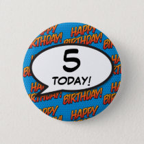 Any Birthday Age Comic Book Pop Art Button