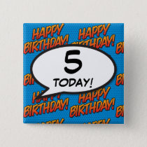 Any Birthday Age Comic Book Pop Art Pinback Button
