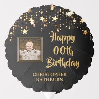 Any Birthday Black & Gold Photo Name Balloon