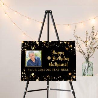 Any Birthday Black Gold Stars Photo Personalized Foam Board