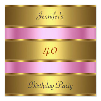 Any birthday Party Gold Pink Card