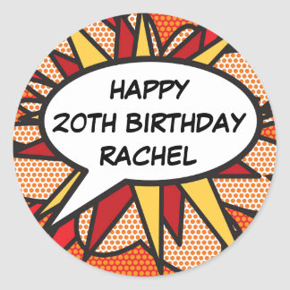 Any Birthday Personalised Comic Book Pop Art Classic Round Sticker