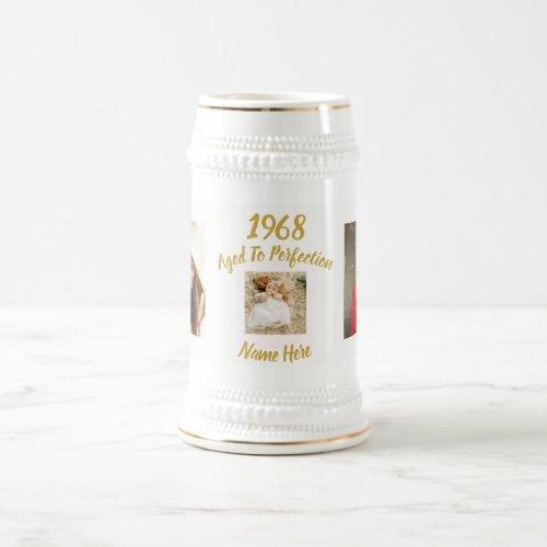 ANY Birthday PHOTO Gift Man or Woman Custom Beer Stein