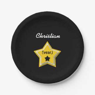 ANY Birthday with Layered Stars GOLD BLACK L01Z Paper Plate