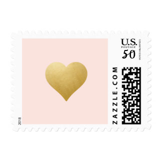 Any BKG Color | Gold / Blush Pink Heart Stamp