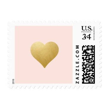 Beach Themed Any BKG Color | Gold / Blush Pink Heart Stamp