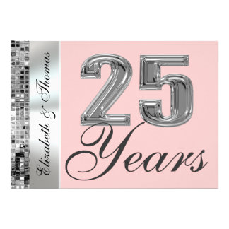 Any Color 25 Years Silver Anniversary Invitation