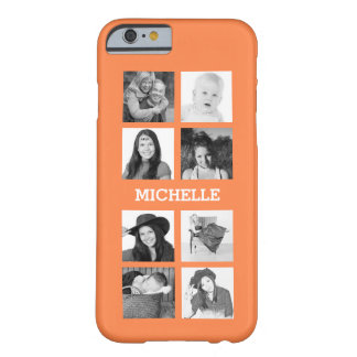 Any Color 8 Photos and Personalized Name Barely There iPhone 6 Case