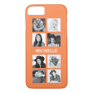 Any Color 8 Photos and Personalized Name iPhone 7 Case