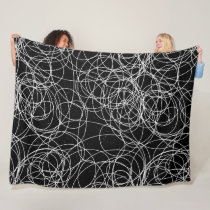 Any Color Abstract Swirly Scribble Fleece Blanket