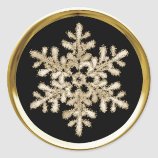 Any Color Background Gold Crystal Snowflake Seal