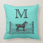 Any Color Background - Monogram Equestrian Pillow