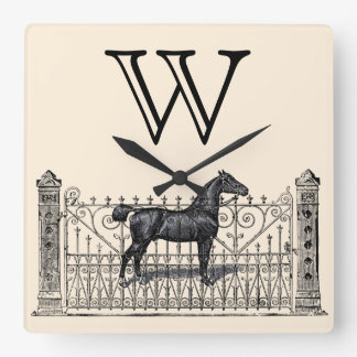 Any Color Background - Monogram Equestrian Square Wall Clock