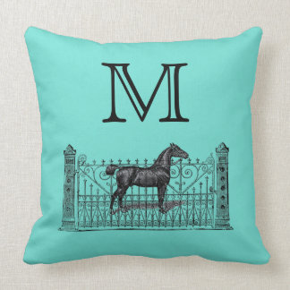 Any Color Background - Monogram Equestrian Throw Pillow
