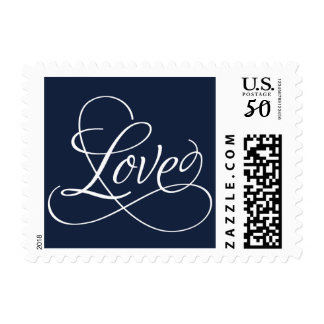 Any Color Background with Calligraphic Love Postage