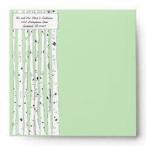 Any Color Birch Tree Wedding Square Envelopes