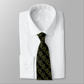 Any Color Black and Green Star of David Pattern Tie