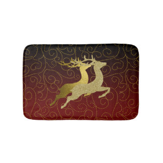 Any Color Black Ombre Two Gold Reindeer Holiday Bath Mat
