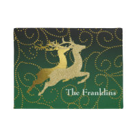 Any Color Black Ombre Two Gold Reindeer Holiday Doormat