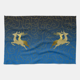 Any Color Black Ombre Two Gold Reindeer Holiday Kitchen Towel
