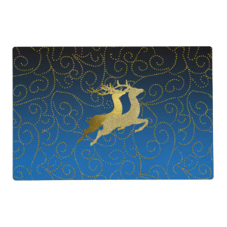 Any Color Black Ombre Two Gold Reindeer Holiday Placemat