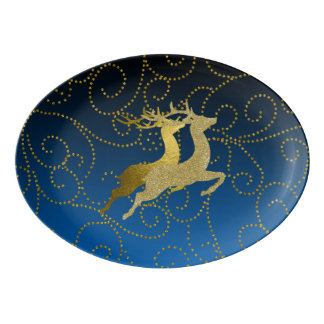 Any Color Black Ombre Two Gold Reindeer Holiday Porcelain Serving Platter