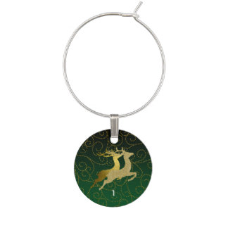 Any Color Black Ombre Two Gold Reindeer Holiday Wine Glass Charm