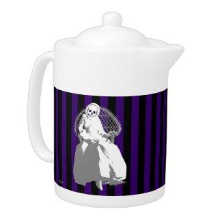 ANY COLOR! Black Stripe Skeleton Doll Tea Pot