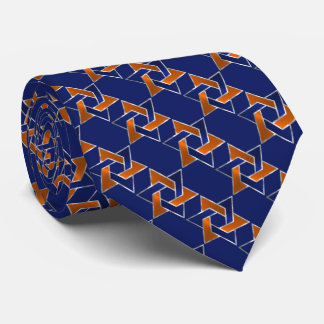 Any Color Blue and Orange Star of David Pattern Tie