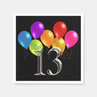 Any Color Colorful Birthday Balloons 13 Paper Napkin