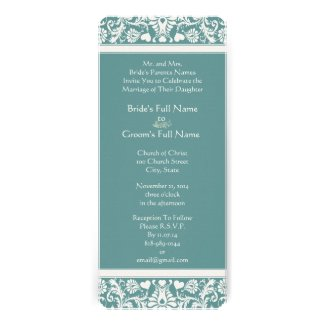 Any Color Damask Swirls Wedding Invitation