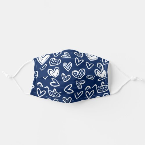 Any Color Doodle Hearts Sketch on Dark Blue Adult Cloth Face Mask