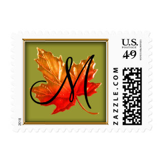 Any Color Fall Maple Leaf Monogram Initial Postage Stamp