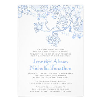 Any Color Flowers and Foliage Lace Wedding Invites