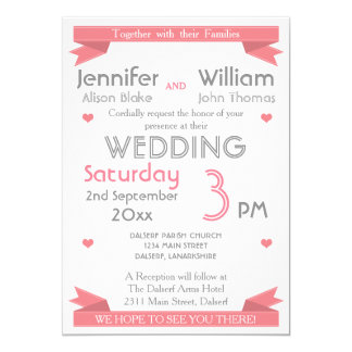 Any Color Fun Modern Typography Wedding Card