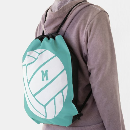 any color girls boys sports monogrammed volleyball drawstring bag