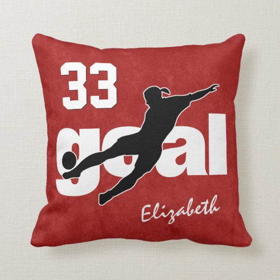 ANY color girls' soccer player kicking goal Throw Pillow
