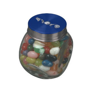 Any Color Hand Drawn Seashells Glass Candy Jars