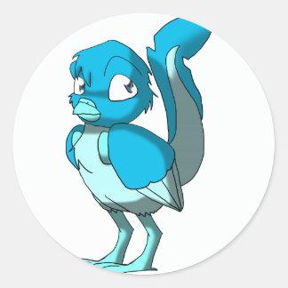 Any Color/Ice Blue Reptilian Bird Classic Round Sticker