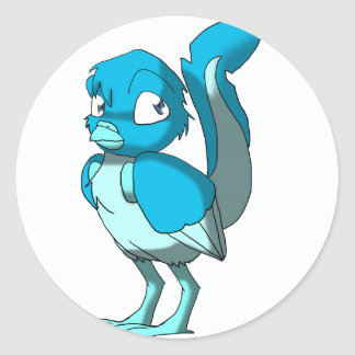 Any Color/Ice Blue Reptilian Bird Classic Round Sticker