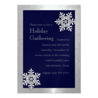 Any Color Icy Snowflakes Holiday Party Invitation