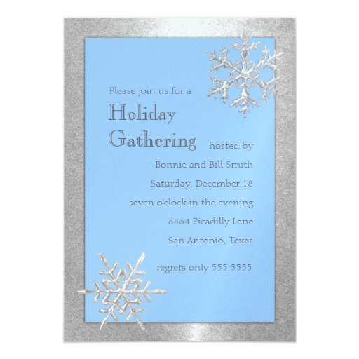 "Any Color Icy Snowflakes Holiday Party Invitation 5"" X 7"" Invitation Card"