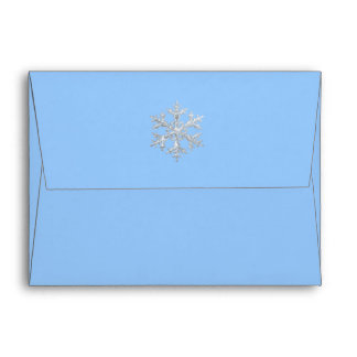 Any Color Icy Snowflakes Holiday RSVP Envelope