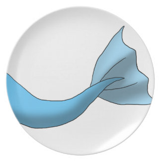 Any Color Mermaid Tail w/ White Background Party Plates