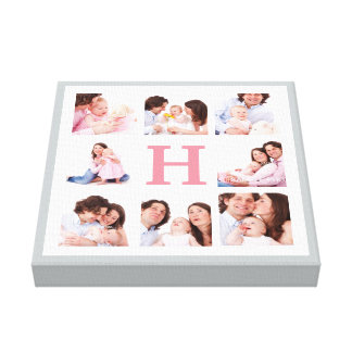 Any Color Monogram Family Photo Collage Stretched Canvas Prints
